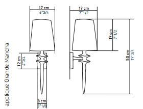 Mesure lampe applique mancha petite